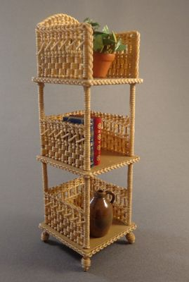 3-Tiered Shelf - $65.00 : Miniature Wicker Furniture by The Petticoat Porch, Handcrafted artisan dollhouse miniature wicker furniture