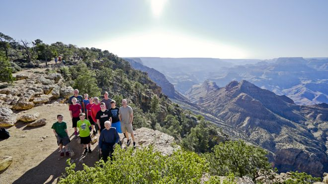 """8 kids, 2 wheelchairs, 250 pounds, 3 days, 17 miles. Don't miss our amazing interview with the truly inspiring family of Bob Headings who give a whole new meaning to the term """"family travel"""".   http://www.suitcasesandstrollers.com/interviews/view/hiking-grand-canyon-with-kids-wheelchair?l=all #GoogleUs #suitcasesandstrollers #travel #travelwithkids #familytravel #familyholidays #familyvacations #traveltips #hiking #wheelchairs"""