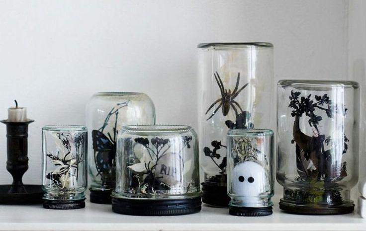 déco Halloween maison et objets décoratifs en bocaux en verre transparent