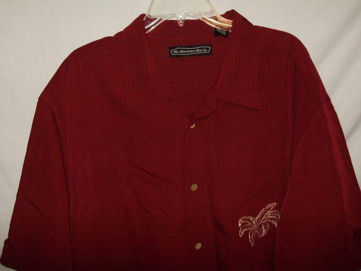 The Hawanera Shirt Co. Mens Shirt Size XXL Maroon Palm Trees Short Sleeve A33 #TheHawaneraShirtCo #ButtonFront