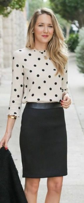 Dear Stitch fix, I love these polka dots. This is a cute combo with the skirt. i love that it is still neutral in color, but still fun while being simple. -Mandi