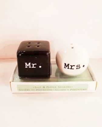 Salt and Pepper Shakers - Mr and Mrs.
