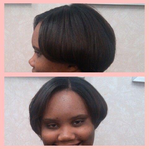Short Hair Relaxer Flat Iron Press And Curls
