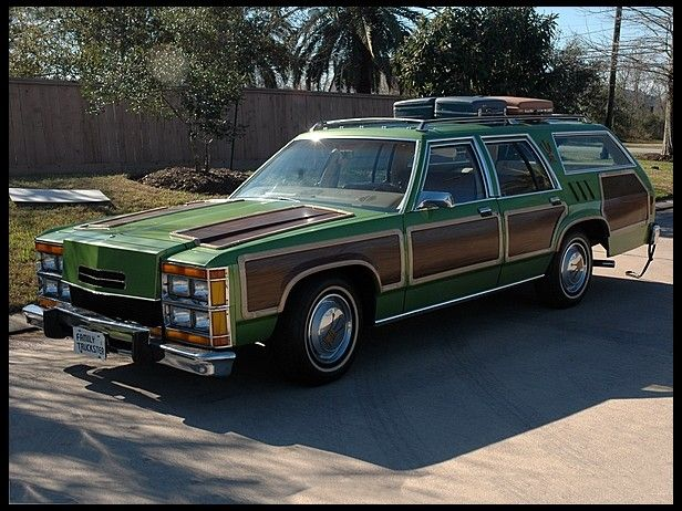"1979 Ford LTD Wagon Used in National Lampoon's Family Vacation. ""Ed, uh... this is not the car I ordered. I distinctly ordered the Antarctic Blue Super Sports Wagon with the C.B. and optional rally fun pack.""  ""You didn't order the Metallic Pea?"""