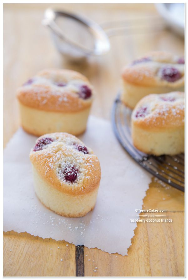 Raspberry-Coconut Friands recipe | TeenieCakes.com
