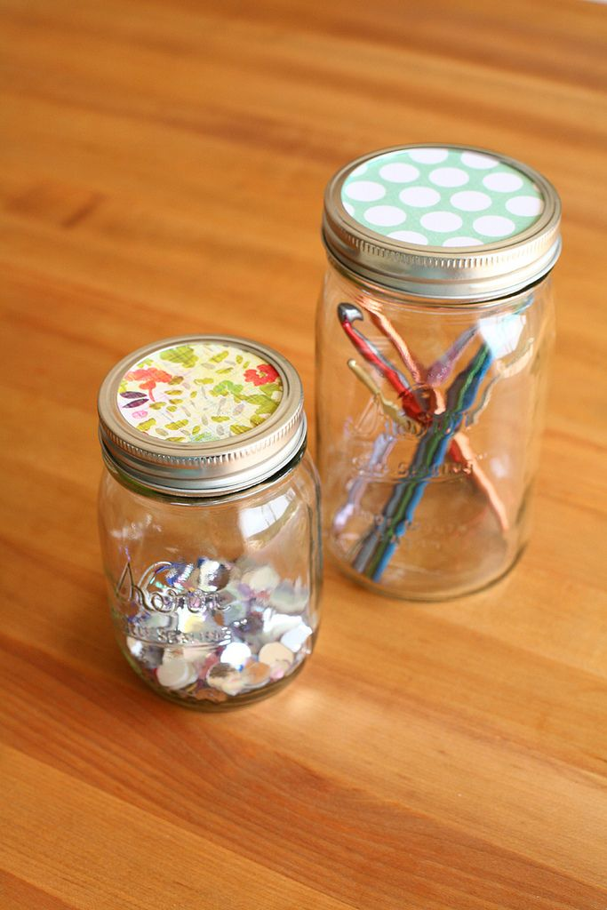 I've got everything from sequins to thread and crochet hooks to buttons stored in mason jars. These little jars have been the perfect sto...