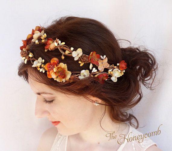fall wedding headpiece, fall flower crown, rustic autumn headband, bridal hair accessory, burnt orange floral hairpiece -HARVEST- woodland
