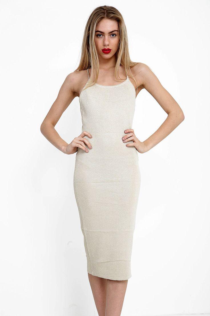 Cross Back Long Glitter Dress #fashion #party