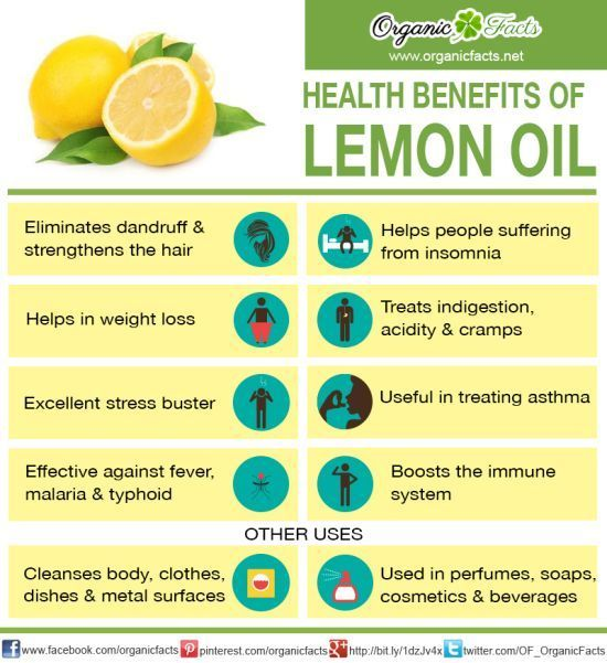 The health benefits of lemon oil can be attributed to its stimulating, calming, carminative, anti-infection, astringent, detoxifying, antiseptic, disinfectant, sleep inducing, and antifungal pro...