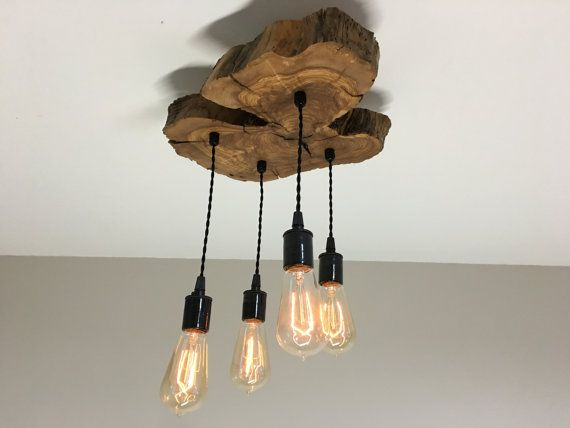 Modern Live-Edge Olive wood Light Fixture with von 7MWoodworking