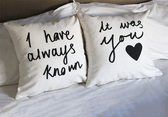 His and Hers Pillows Message Cushion Covers 18 x 18 inch via Etsy