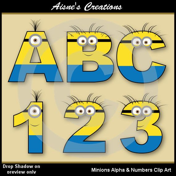 Minions Alphabet letters & Numbers Clip Art by AisnesCreations