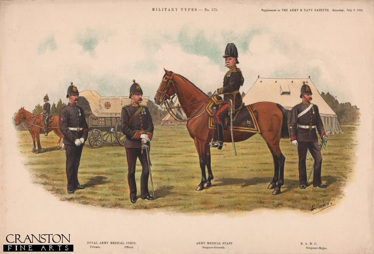 Army Medical Corps by Richard Simkin. Private and Officer - Royal Army Medical Corps. Surgeon-General - Army Medical Staff & Sergeant-Major - Royal Army Medical Corps. A colour supplement to the Army & Navy Gazette in 1907