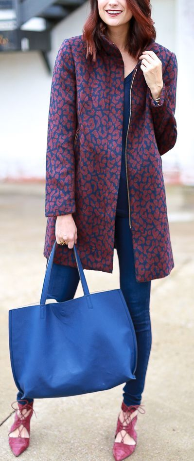 The Miller Affect Winter Printed Coat Fall  Street Style Inspo