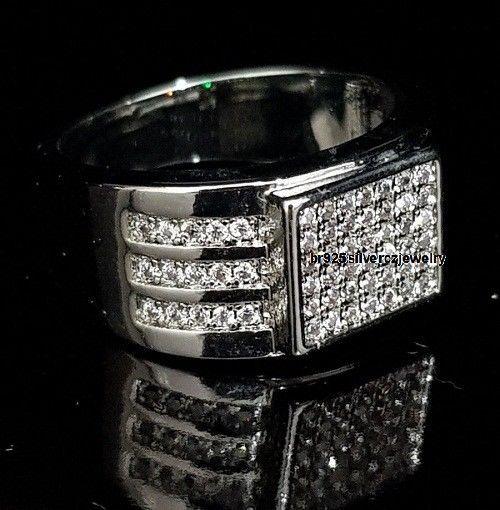 14k Black Gold 925 Sliver Round Cut Diamond Engagement Wedding Pinky Men's Ring #br925silverczjewelry #MensWeddingRing #WeddingEngagementAnniversaryBirthdayGift