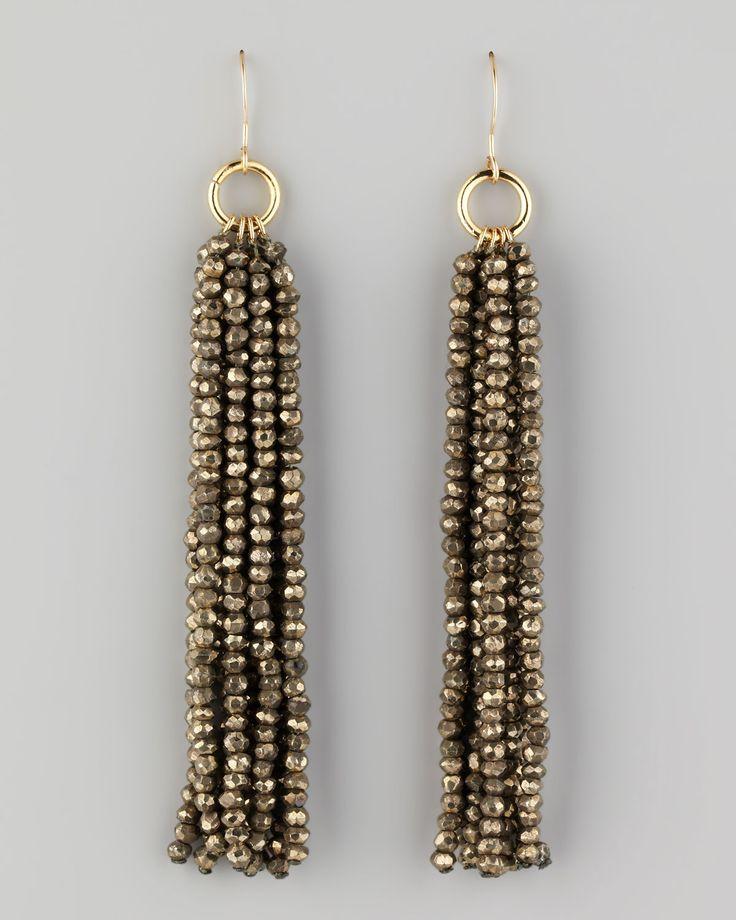Faceted pyrite bead tassel drop earrings