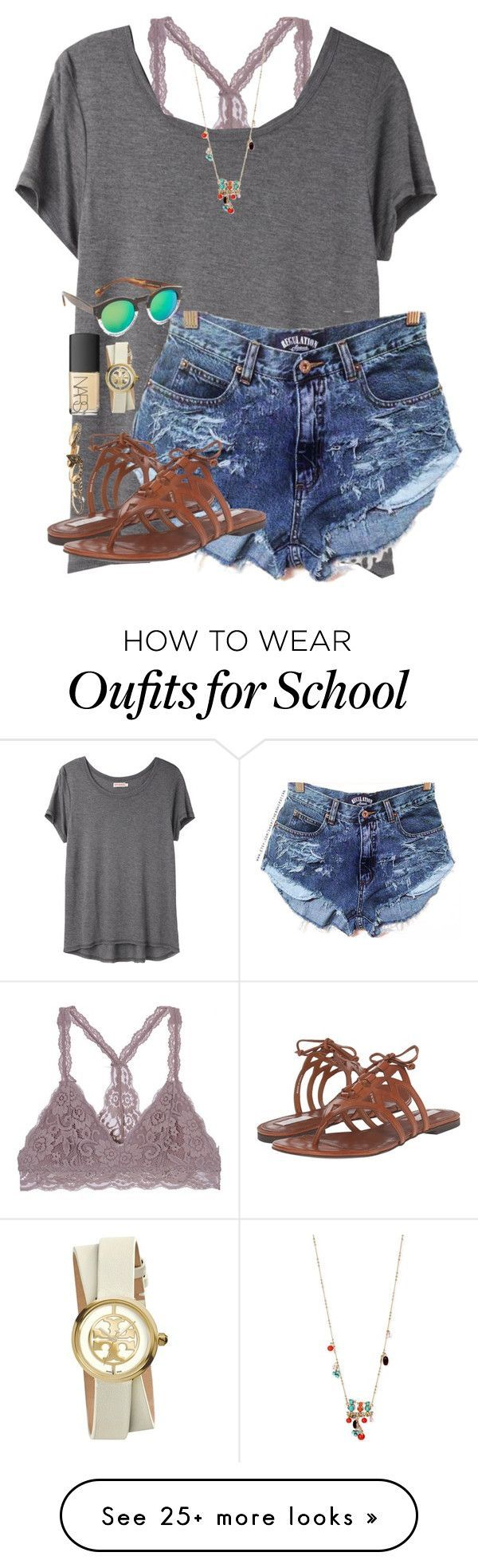 Love having no school by scpprep on Polyvore featuring Organic by John Patrick, Cole Haan, Illesteva, Betsey Johnson, NARS Cosmetics, Tory Burch and Wet Seal