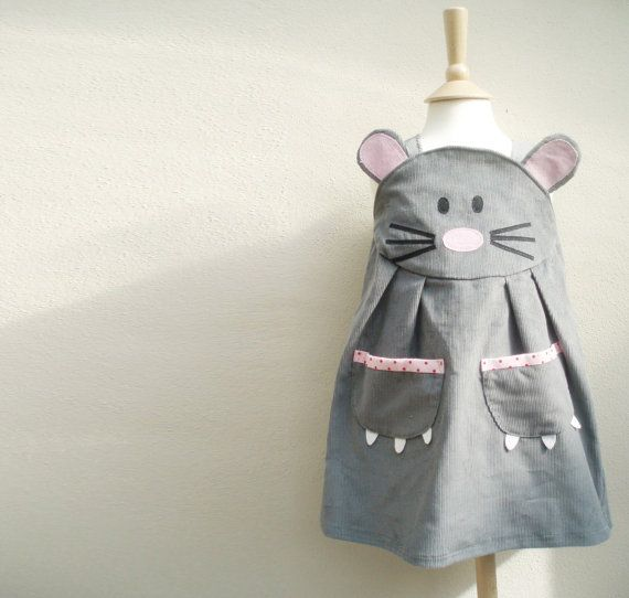 Baby Mouse dress up play dress in grey by wildthingsdresses