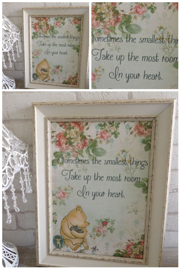 1 Vintage Floral Winnie The Pooh QuotePrint Gifts,Home,Party,Nursery,Christening | eBay