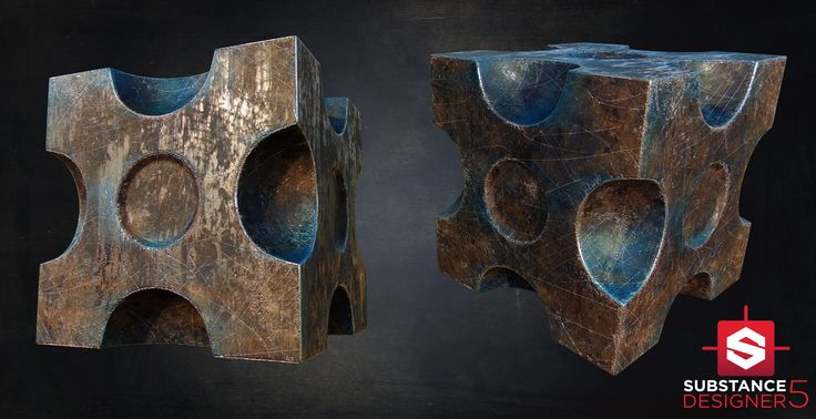 ArtStation - Substance Designer - Blue Rusty Cube [PBR], Álvaro Carreras