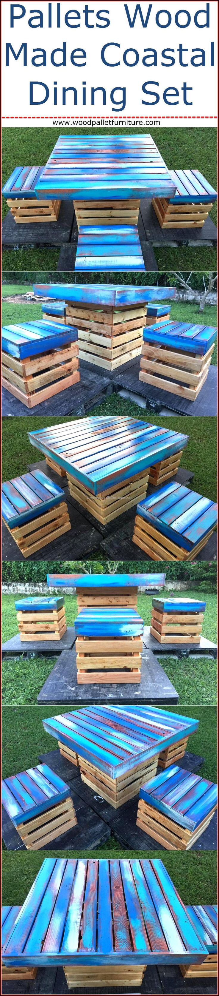 Nothing is better than making the furniture with hand for adorning the home, if you have a lawn in the home; then you should consider making a coastal dining set which will look outstanding in the garden. Placing a handmade coastal dining set made up of repurposed wood pallets adds to the grace of the lawn and enhances the entrance of the home if the lawn is at the entrance and a guest has to walk through it to enter the home. Blue paint is used for making the set appear attractive.