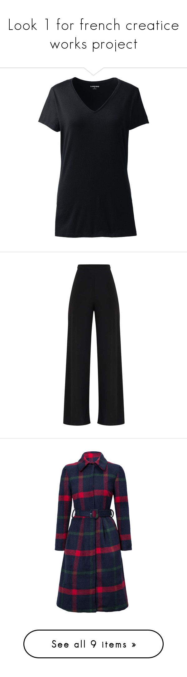 """""""Look 1 for french creatice works project"""" by jasminmorley01 on Polyvore featuring plus size women's fashion, plus size clothing, plus size tops, plus size t-shirts, tops, black, layered t shirt, vneck t shirts, stretch v neck tee and double layer tee"""