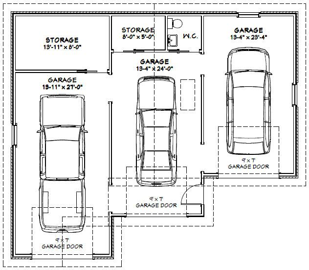 Garage Plans Blueprints 26 X 36 3 Car Traditional: Garage Dimensions - Google Search