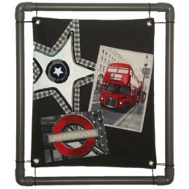 Stoer schilderij met dubbeldekker bus