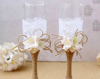Rustic Country Wedding Glasses Cottage Chic Toasting by AniArts