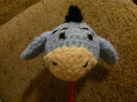 My car topper. Currently lost - need to make another.  http://www.cutoutandkeep.net/projects/crochet-eeyore-car-aerial-topper