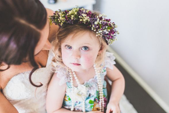Flower girl floral crown Wollongong wedding flowers | Owl + Pussycat Events
