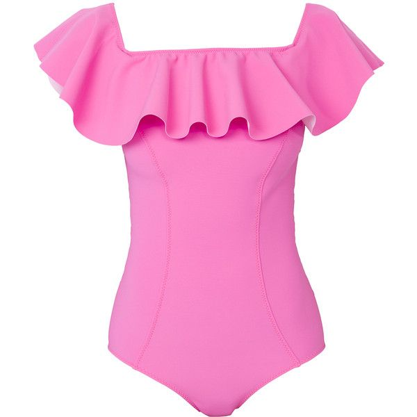 Lisa Marie Fernandez The Webster X Lane Crawford 'Mira Flounce'... found on Polyvore featuring swimwear, one-piece swimsuits, swimsuit, tops, bathing suit, bikini, pink, flounce one piece swimsuit, ruffle bathing suit and bikini one piece swimsuit
