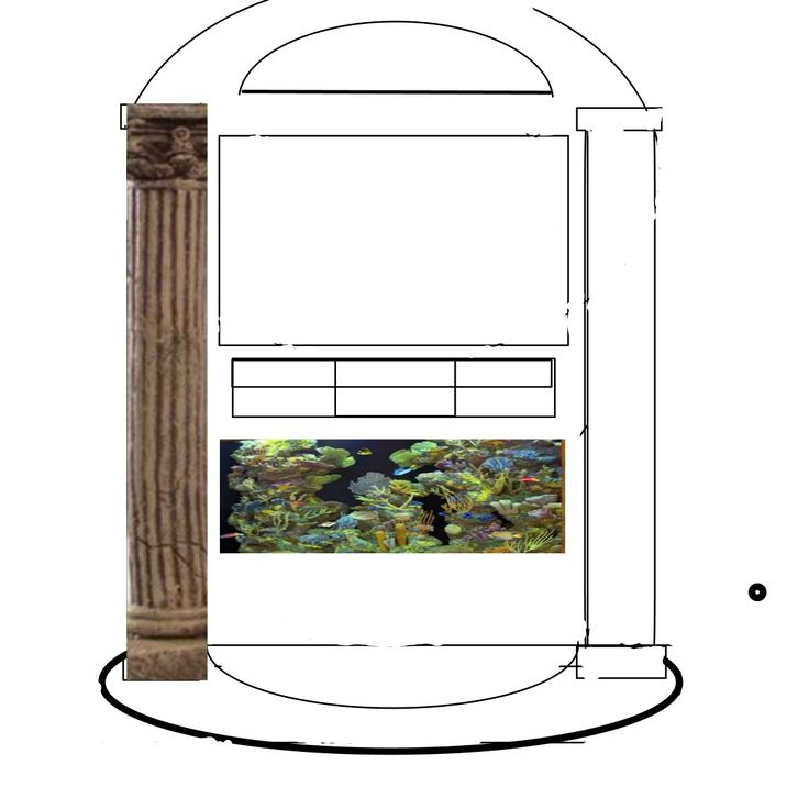 stone center with see threw fish tank shelve at top roun steps and glass shelf