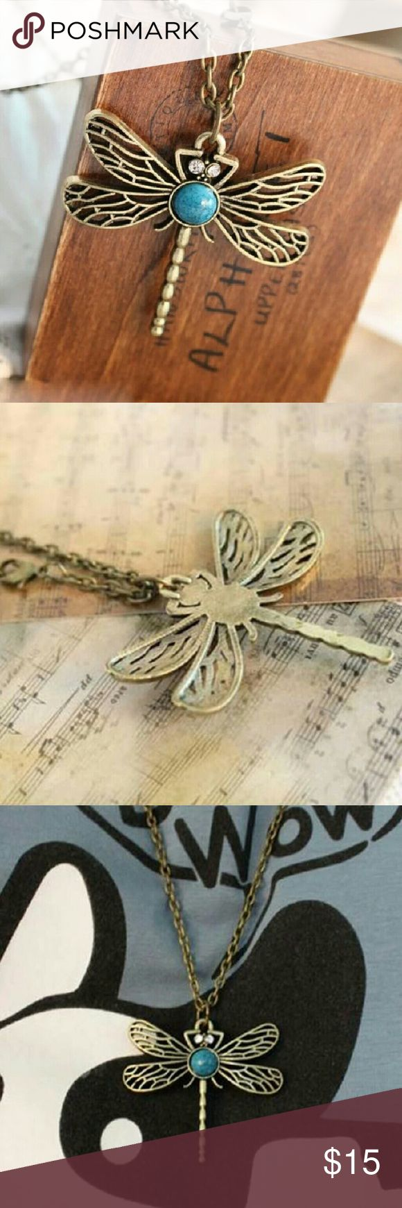Retro Dragonfly Necklace Retro Style Bronze Dragonfly Long Chain Sweater Necklace Pendant Accessories