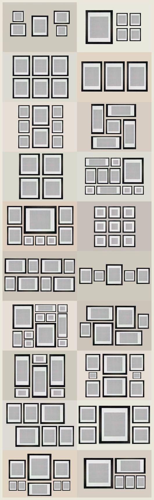 Algunas ideas para organizar cuadros en la pared