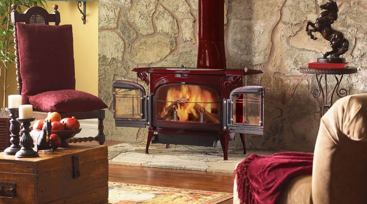 Vermont castings 100% recycled iron woodstoves. this one is Encore® Two-In-One Wood Burning Stove