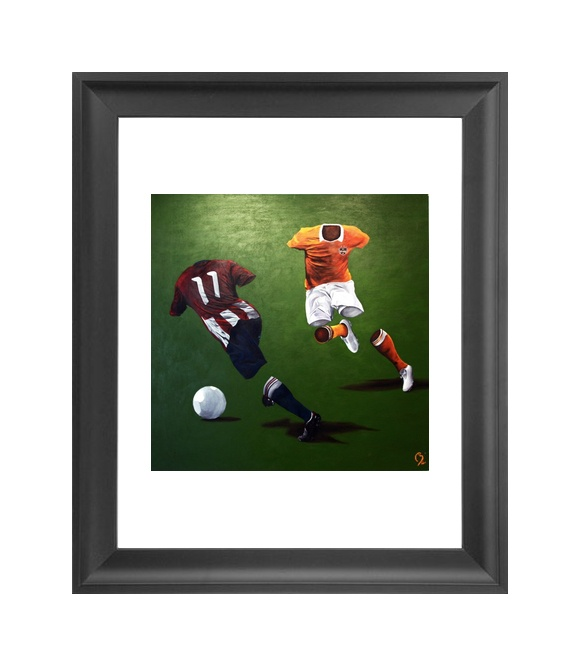 Framed Chivas USA v Houston Dynamo art print by artist Beterri Bengston available at www.futbolartistnetwork.com  #soccer #futbol #chivas #dynamo #soccerart #Futbolart