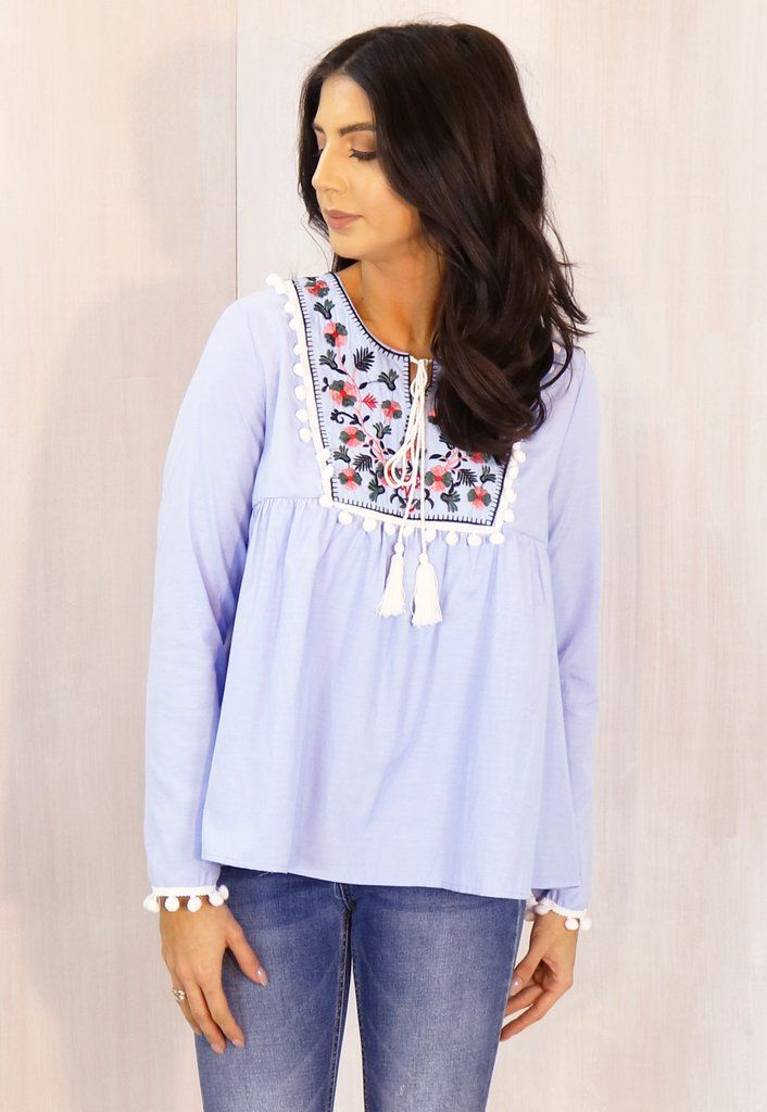 Embroidered Panel Pom Pom Cotton Long Sleeve Smock Top in Sky Blue