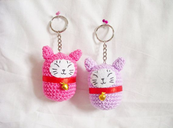 Amigurumi Kitty Ring Holder : 1000+ images about Cat Keyrings on Pinterest