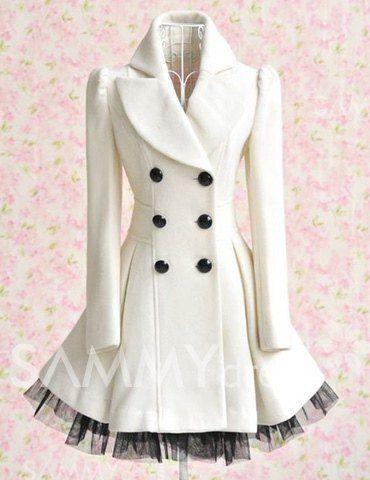 $23.98 Medio Abrigo de Tela de Lana con Collar de Solapa de Suéter Decorado de Doble Línea de Botones y Rayados Oblicuos para las Mujeres