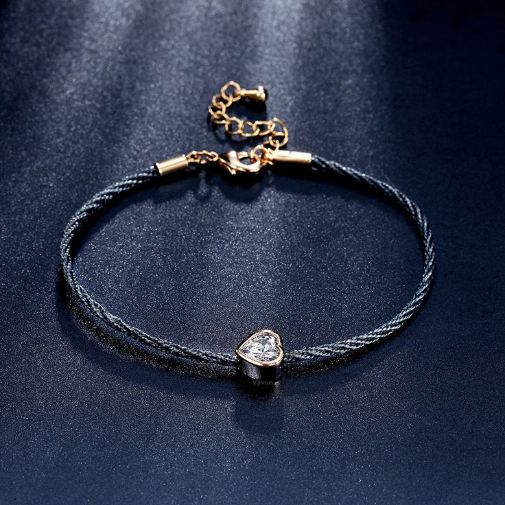 Heart Gold Bracelet,Dot Bracelet,Gold Cord Bracelet,Black Cord Bracelet,Charm Cord Bracelet,Crystal Cord Bracelet,Heart Cord Bracelet,AB0089 by AmodeJewelry on Etsy