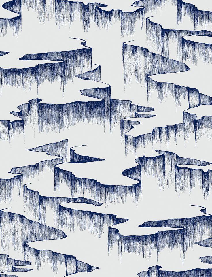 Rift in Azurite Blue from Manuka Textiles #blue #abstract #wallpaper #wallcovering #interiordesign #designinspiration #thetextilefiles #clothandkindinteriordesign #manukatextiles
