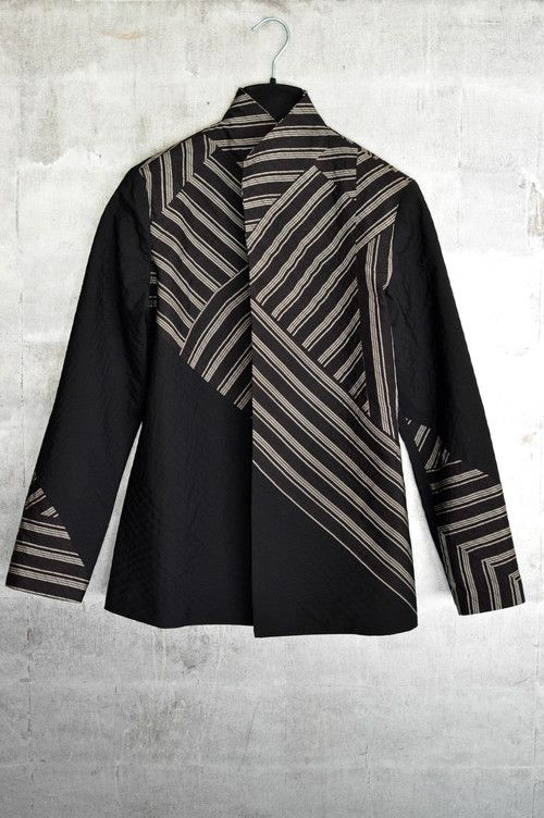 Jacket in vintage striped Japanese silk and solid cotton both stitched to silk.