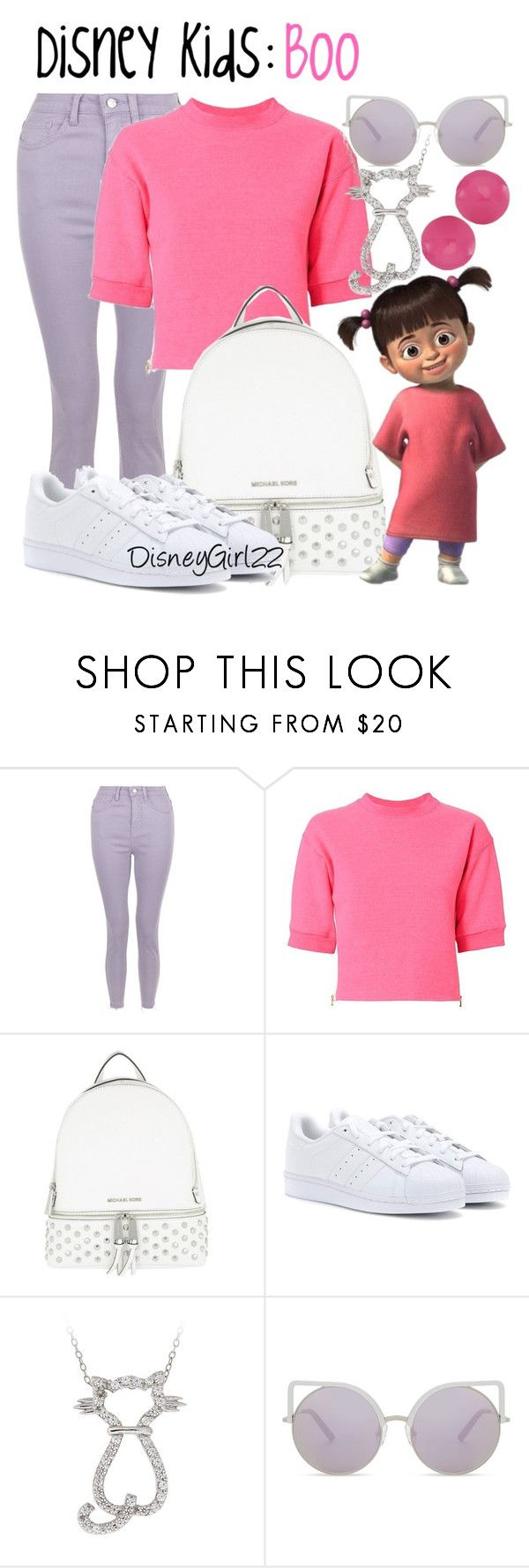 """Disney Kids: Boo"" by disneygirl22 ❤ liked on Polyvore featuring Harvey Faircloth, MICHAEL Michael Kors, adidas Originals, Icz Stonez, Matthew Williamson, Kim Rogers, disney, Boo, monstersinc and disneybound"