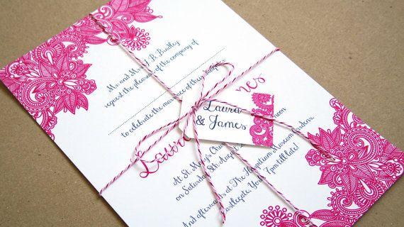 Donner une bonne première impression avec ces invitations contemporaines et élégante à vos invités de mariage. Imprimé sur la carte de blanc lisse 100 % recyclé, ceux-ci invite mesure 222x156mm et viennent avec des enveloppes blanches correspondants.  Le beau modèle Mehandi henné peut être modifié en fonction de votre palette de couleurs spécifique, et polices et mise en page peuvent être modifiés - faites le moi savoir vos idées !  Comme avec toutes mes invitations aux couleurs de libellé…