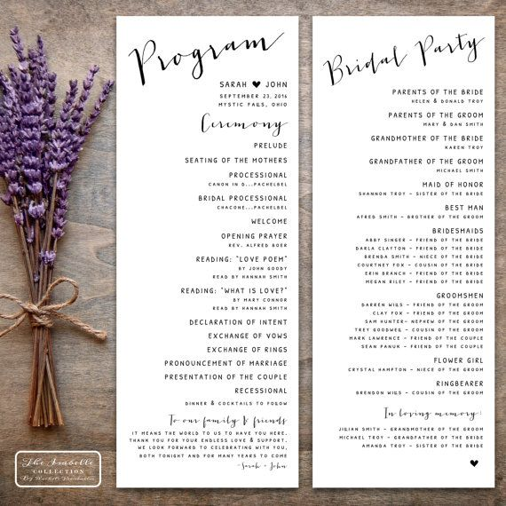 Best Printable Wedding Programs Images On   Casamento