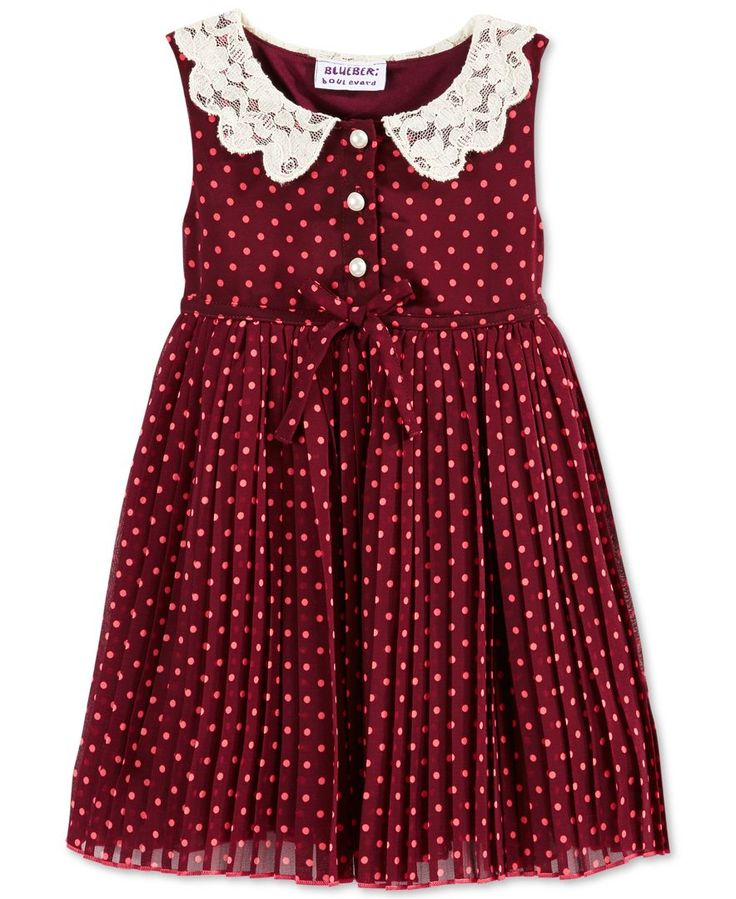 Red and black polka dots dress for baby