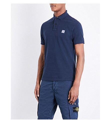 STONE ISLAND Slim-Fit Cotton-Piqué Polo Shirt. #stoneisland #cloth #tops & t-shirts