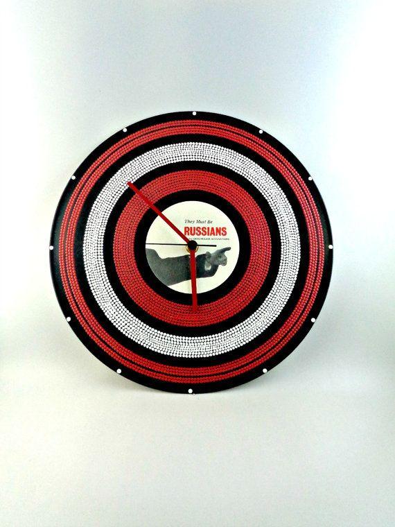 Red&White Vinyl Clock Hand Painted Upcycled Vinyl by InsaneDotting