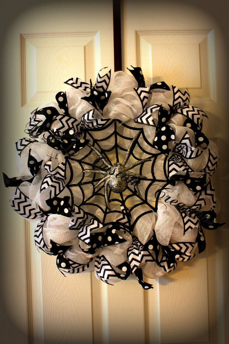 spooky spider deco mesh wreath for halloween by dnlcustomcreations on etsy - Halloween Deco